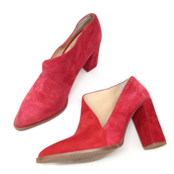 3d47734f4763 Vince Camuto Loretan Red Suede Heeled Booties 8.5.  M 5b176cf59fe48682b8cc226c